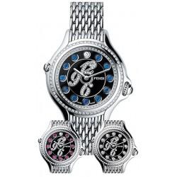 F105021000B3P02 Fendi Crazy Carats Diamond Black Dial Steel Watch 33mm