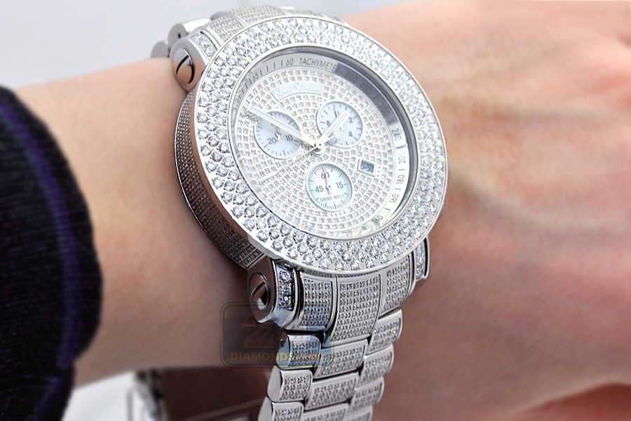 luxurman watch band watches stainless for steel co full uk large out dp iced amazon montana diamond women