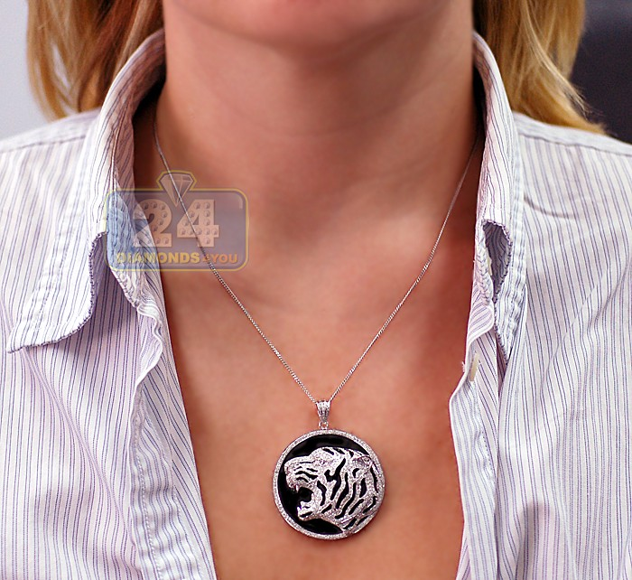 Mens diamond tiger head round pendant 14k white gold 222ct 2 mozeypictures Gallery