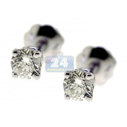 Womens Round Cut Diamond Stud Earrings 14K White Gold 0.33 ct