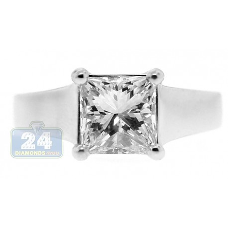 Platinum 1.75 ct Princess Cut GIA Diamond Solitaire Womens Engagement Ring