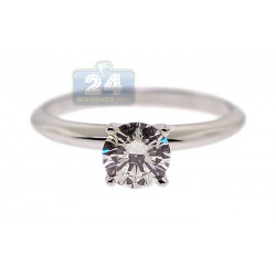 18K White Gold 0.71 ct Diamond Womens Solitaire Engagement Ring