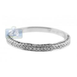 14K White Gold 0.30 ct 3 Row Diamond Womens Wedding Band Ring