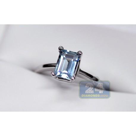 14K White Gold 0.97 ct Emerald Cut Aquamarine Solitaire Engagement Ring