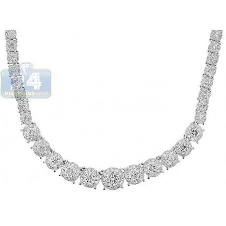 Womens Diamond Illusion Graduated Tennis Necklace 14K White Gold