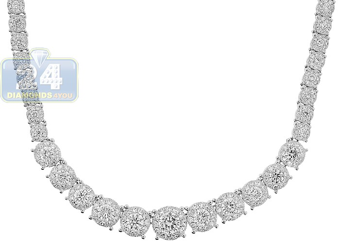 0bb29e3263373 14K White Gold 7.54 ct Diamond Graduated Tennis Necklace 18 Inches