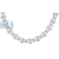 14K White Gold 10.67 ct Diamond Womens Chain Necklace 18 Inches