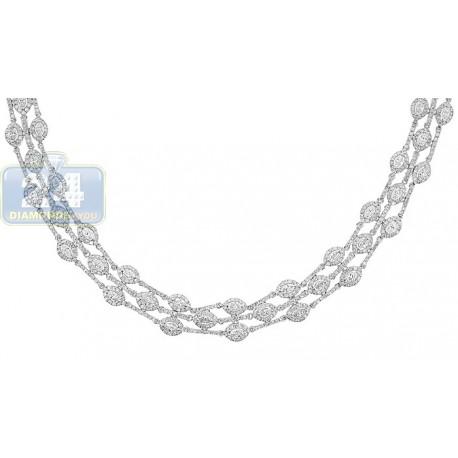 "Womens Diamond Collar Necklace 14K White Gold 10.67ct 15mm 18"""