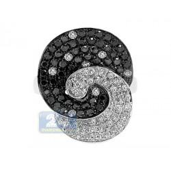 14K White Gold 1.82 ct Black White Diamond Womens Flower Ring
