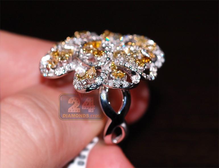 Fancy Yellow Diamond Womens Flower Ring 14k White Gold 3 62 Ct