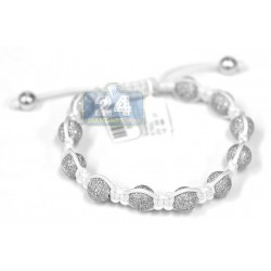 Diamond Bead Adjustable Shambala Bracelet 14K White Gold 16.50 ct