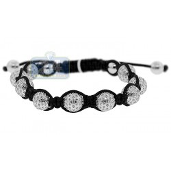 Diamond Bead Adjustable Shambala Bracelet Sterling Silver 7.20 ct