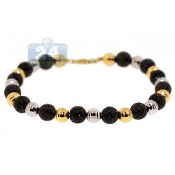 Mens Black Diamond Bead Bracelet 14K Two Tone Gold 10.50 ct 9""