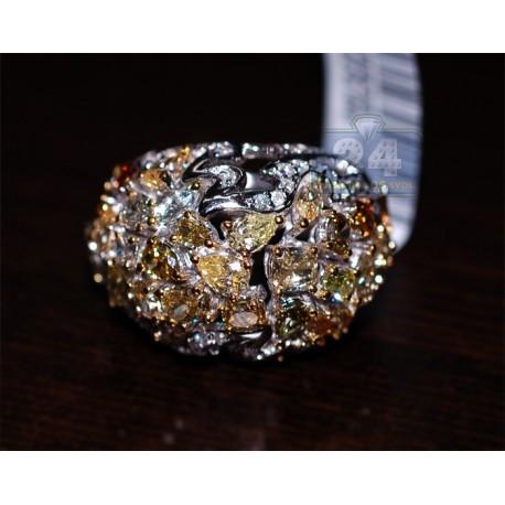 14K White Gold 6.46 ct Fancy Multicolored Diamond Womens Dome Ring