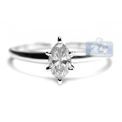 14K White Gold 0.45 ct Marquise Cut Diamond Solitaire Womens Engagement Ring
