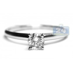14K White Gold 0.50 ct Diamond Solitaire Womens Classic Engagement Ring