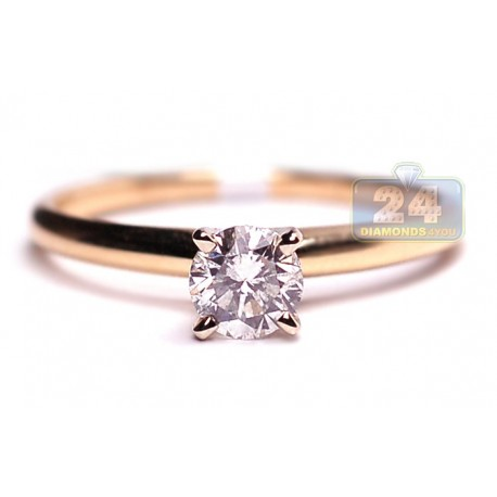 14K Yellow Gold 0.50 ct Diamond Solitaire Womens Classic Engagement Ring