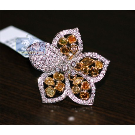 14K White Gold 5.15 ct Multicolored Fancy Diamond Womens Flower Ring