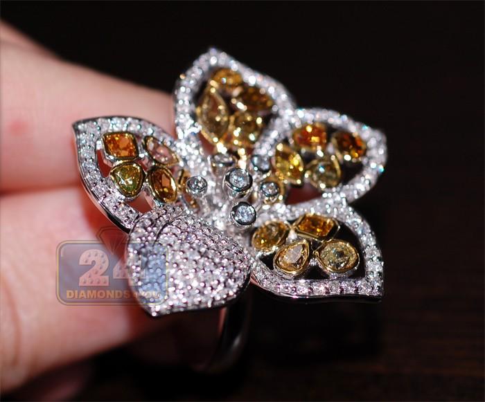 Womens Multicolored Fancy Diamond Flower Ring 14k White Gold