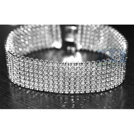 Mens Diamond Mesh Flexible Bracelet 14K White Gold 9.56 ct 9""