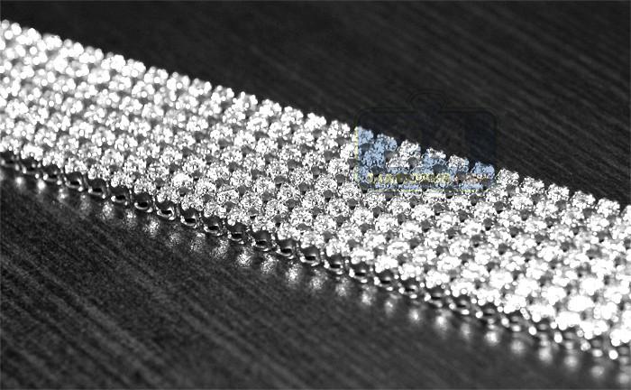 10k White Gold 9 56 Ct Diamond Mens Mesh Bracelet 9 Inches
