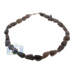 925 Sterling Silver Natural Labradorite Womens Necklace 18 Inches