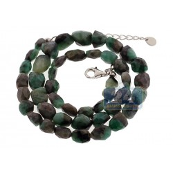 925 Sterling Silver Natural Emerald Tumbled Necklace 19 Inches