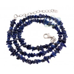 925 Sterling Silver Natural Uncut Lapis Womens Necklace 18 Inches