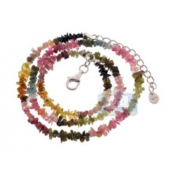 925 Sterling Silver Natural Uncut Tourmaline Womens Necklace 18 Inches