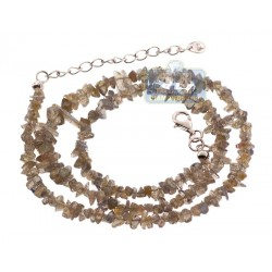 925 Sterling Silver Natural Uncut Labradorite Womens Necklace 18 Inches