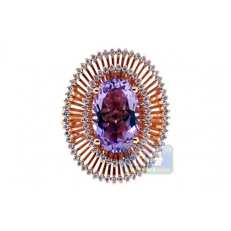 18K Rose Gold 6.17 ct Purple Amethyst Diamond Cocktail Womens Ring