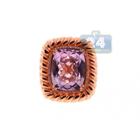 14K Rose Gold 6.95 ct Amethyst Diamond Halo Womens Cocktail Ring
