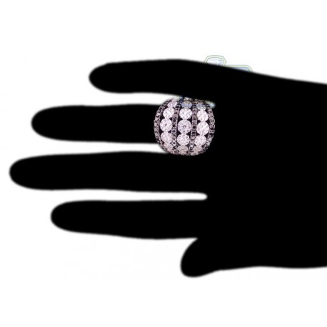 Womens Black Diamond Cluster Wide Band Ring 18K White Gold