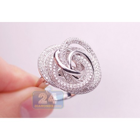 18K White Gold 5.15 ct Diamond Womens Rose Flower Ring