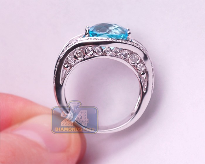 Womens 5 10 Ct Blue Topaz Diamond Vintage Ring 14k White Gold