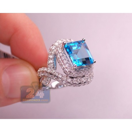 14K White Gold 10.95 ct Blue Topaz Diamond Womens Cocktail Ring