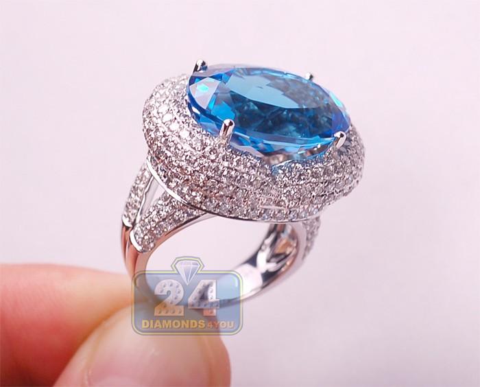 Womens Blue Topaz Diamond Cocktail Ring 14k White Gold 25 15ct