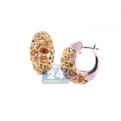 14K White Gold 7.37 ct Fancy Yellow Diamond Womens Hoop Earrings 7/8 Inches
