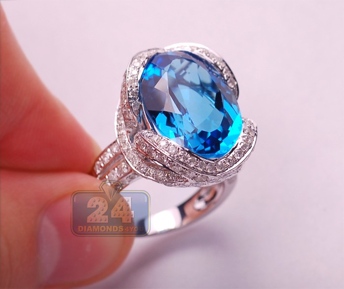 Womens 18.04 Ct Oval Blue Topaz Diamond Cocktail Style Ring