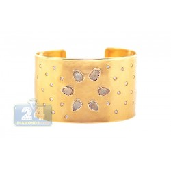 14K Yellow Gold 9.27 Quartz Diamond Womens Cuff Bracelet 7 1/2 Inches