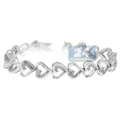 14K White Gold 1.40 ct Diamond Womens Hearts Link Bracelet 7 Inches