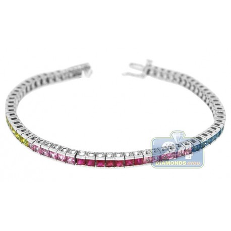 Womens Rainbow Sapphire Tennis Bracelet 14K White Gold 8.00 ct