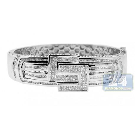 """Mens Diamond Heavy Bangle Bracelet 14K White Gold 7.25 ct 10"""""""