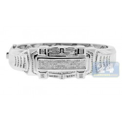 14K White Gold 7.00 ct Diamond Mens Bangle Bracelet 10 inch