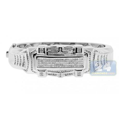 Mens Diamond Bangle Bracelet 14K White Gold 7.00 ct 10 inches