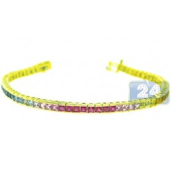 14K Yellow Gold 8.00 ct Rainbow Sapphire Womens Tennis Bracelet