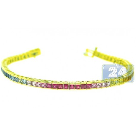 Womens Rainbow Sapphire Tennis Bracelet 14K Yellow Gold 8.00 ct