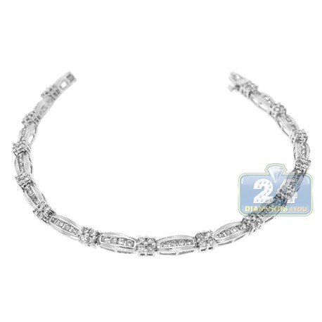 Womens Channel Set Diamond Bracelet 14K White Gold 2.60 ct 7.5""
