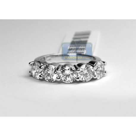 Womens Diamond Anniversary Five Stone Ring 14K White Gold 3.80 ct