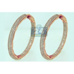 14K Rose Gold 14.42 ct Diamond Womens Hoop Earrings 2 1/4 Inches